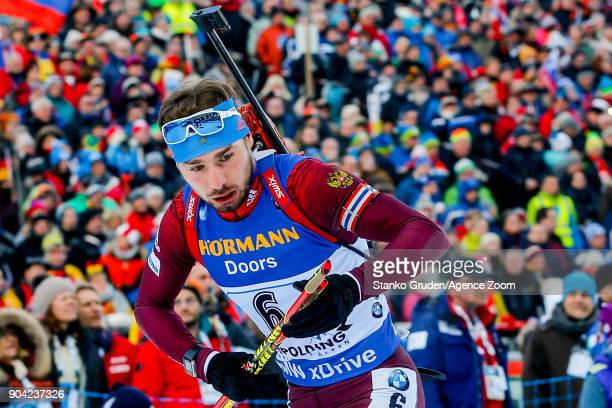 Anton Shipulin of Russia in action during the IBU Biathlon World Cup Men's Relay on January 12 2018 in Ruhpolding Germany