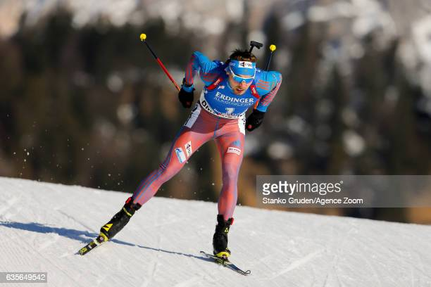 Anton Shipulin of Russia in action during the IBU Biathlon World Championships Men's Individual on February 16 2017 in Hochfilzen Austria