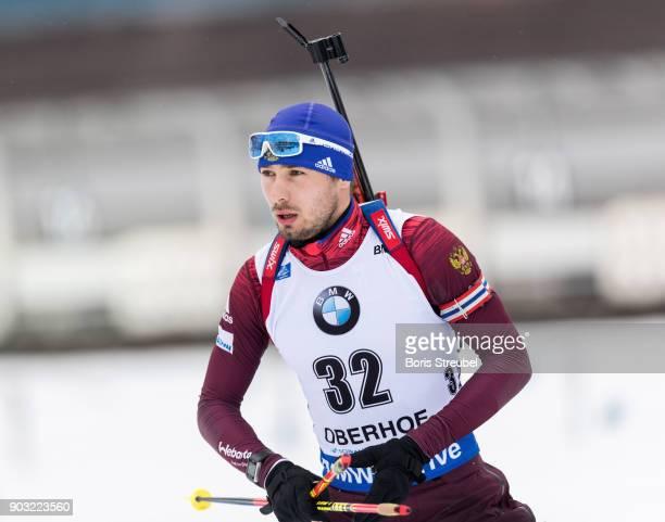 Anton Shipulin of Russia looks on prior to the 10 km IBU World Cup Biathlon Oberhof men's Sprint on January 5 2018 in Oberhof Germany