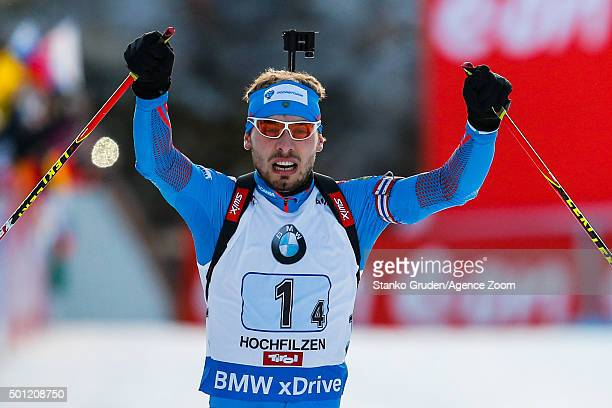 Anton Shipulin of Russia takes 1st place during the IBU Biathlon World Cup Men's and Women's Relay on December 13, 2015 in Hochfilzen, Austria.