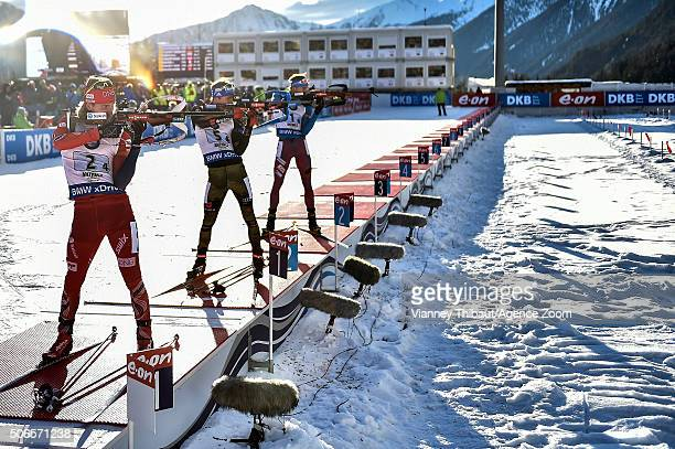 Anton Shipulin of Russia takes 1st place Simon Schempp of Germany takes 2nd place Erlend Bjoentegaard of Norway takes 3rd place during the IBU...