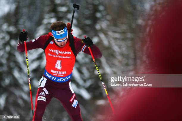 Anton Shipulin of Russia takes 2nd place during the IBU Biathlon World Cup Men's and Women's Pursuit on January 20 2018 in AntholzAnterselva Italy