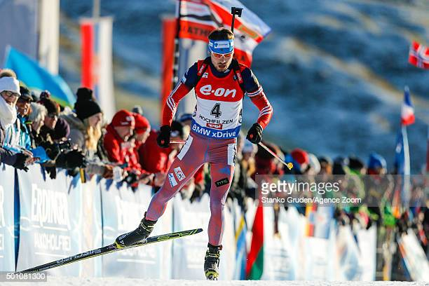 Anton Shipulin of Russia takes 3rd place during the IBU Biathlon World Cup Men's and Women's Pursuit on December 12 2015 in Hochfilzen Austria