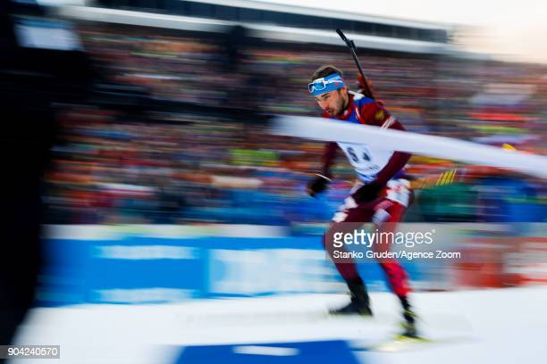Anton Shipulin of Russia takes 3rd place during the IBU Biathlon World Cup Men's Relay on January 12 2018 in Ruhpolding Germany