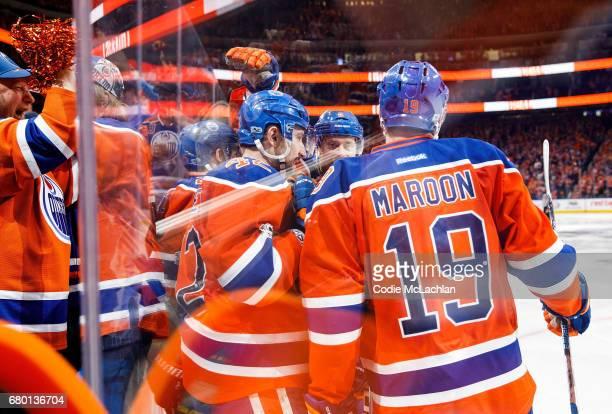 Anton Slepyshev Adam Larsson and Patrick Maroon of the Edmonton Oilers celebrate Slepyshev's goal against the Anaheim Ducks in Game Six of the...