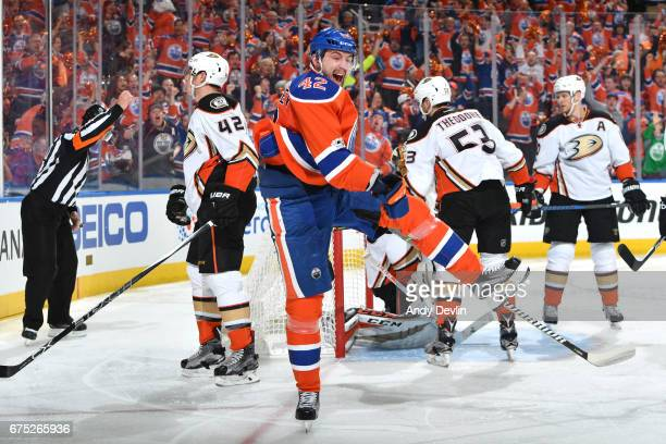 Anton Slepyshev of the Edmonton Oilers celebrates after a goal in Game Three of the Western Conference Second Round during the 2017 NHL Stanley Cup...