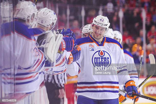 Anton Slepyshev of the Edmonton Oilers celebrates after scoring against the Calgary Flames during an NHL game at Scotiabank Saddledome on January 21...