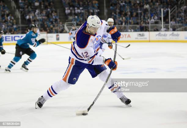 Anton Slepyshev of the Edmonton Oilers in action against the San Jose Sharks during Game Six of the Western Conference First Round during the 2017...