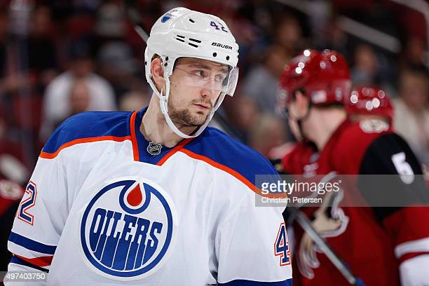 Anton Slepyshev of the Edmonton Oilers in action during the NHL game against the Arizona Coyotes at Gila River Arena on November 12 2015 in Glendale...