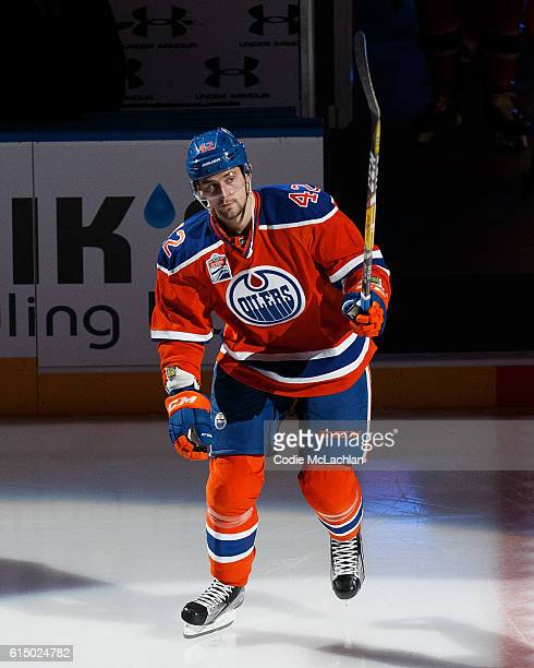 Anton Slepyshev of the Edmonton Oilers is introduced before the home opener against the Calgary Flames on October 12 2016 at Rogers Place in Edmonton...