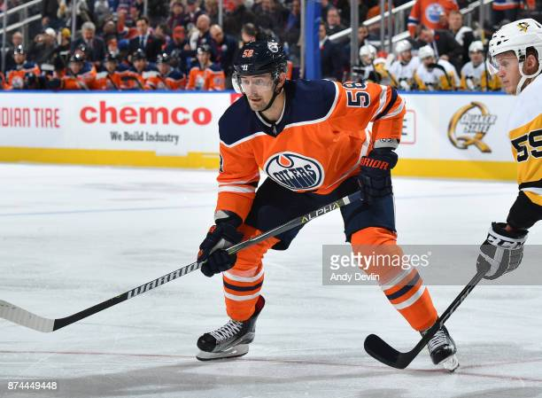 Anton Slepyshev of the Edmonton Oilers lines up for a face off during the game against the Pittsburgh Penguins on November 1 2017 at Rogers Place in...