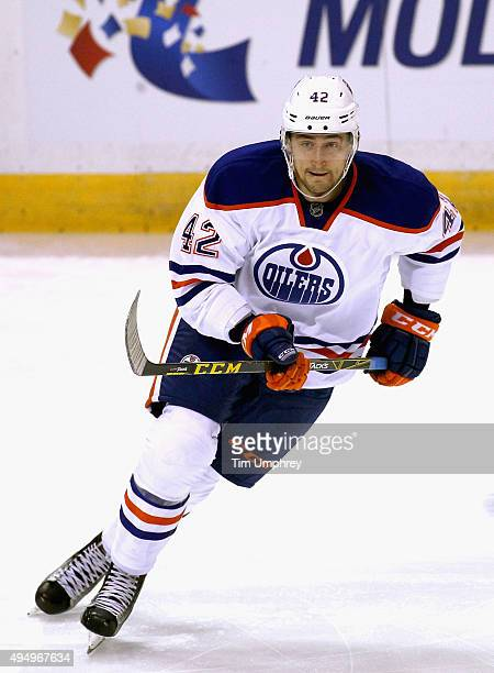 Anton Slepyshev of the Edmonton Oilers plays in the game against the St Louis Blues at the Scottrade Center on October 7 2015 in St Louis Missouri