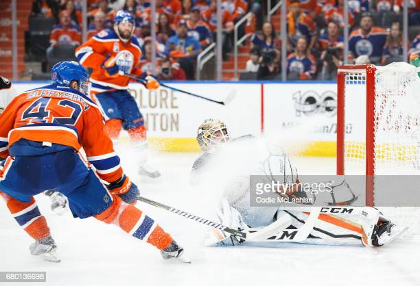 Anton Slepyshev of the Edmonton Oilers scores a goal on goalie Jonathan Bernier of the Anaheim Ducks in Game Six of the Western Conference Second...