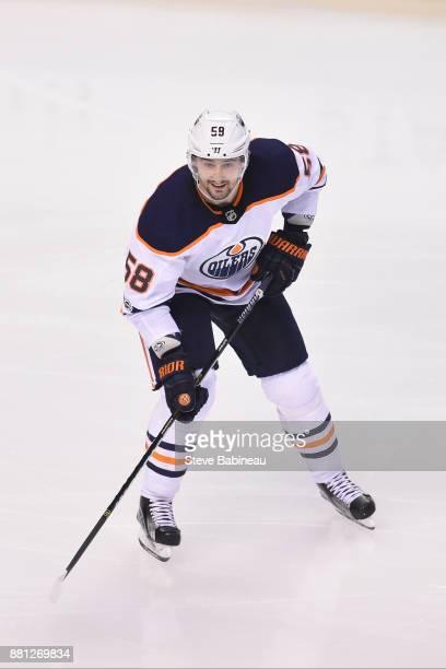 Anton Slepyshev of the Edmonton Oilers skates against the Boston Bruins at the TD Garden on November 26 2017 in Boston Massachusetts
