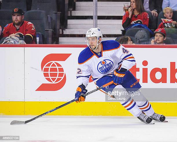 Anton Slepyshev of the Edmonton Oilers skates against the Calgary Flames during a preseason NHL game at Scotiabank Saddledome on September 21 2015 in...