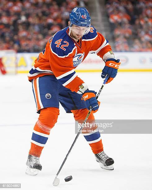 Anton Slepyshev of the Edmonton Oilers skates against the Calgary Flames on October 12 2016 at Rogers Place in Edmonton Alberta Canada