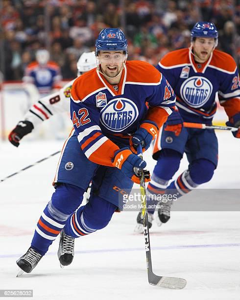 Anton Slepyshev of the Edmonton Oilers skates against the Chicago Blackhawks the Chicago Blackhawks on November 21 2016 at Rogers Place in Edmonton...