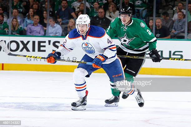 Anton Slepyshev of the Edmonton Oilers skates against the Dallas Stars at the American Airlines Center on October 13 2015 in Dallas Texas