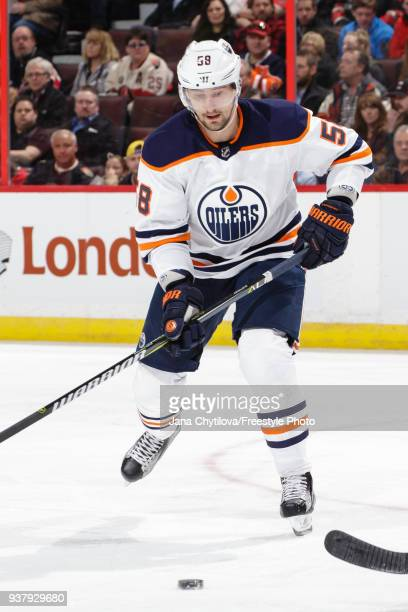 Anton Slepyshev of the Edmonton Oilers skates against the Ottawa Senators at Canadian Tire Centre on March 22 2018 in Ottawa Ontario Canada
