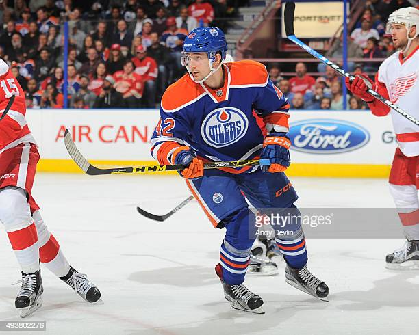 Anton Slepyshev of the Edmonton Oilers skates during a game against the Detroit Red Wings on October 21 2015 at Rexall Place in Edmonton Alberta...
