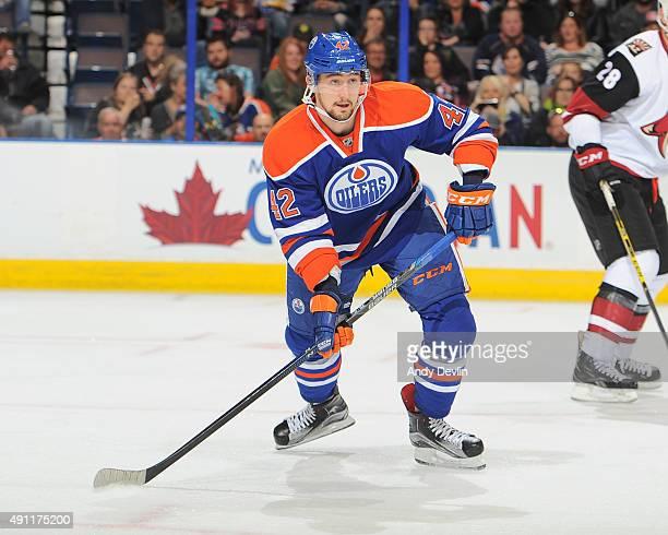 Anton Slepyshev of the Edmonton Oilers skates during a preseason game against the Arizona Coyotes on September 29 2015 at Rexall Place in Edmonton...