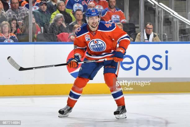 Anton Slepyshev of the Edmonton Oilers skates during the game against the Chicago Blackhawks on February 11 2017 at Rogers Place in Edmonton Alberta...