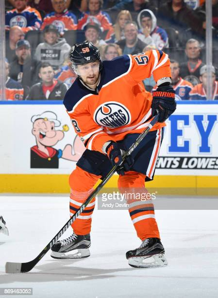 Anton Slepyshev of the Edmonton Oilers skates during the game against the Dallas Stars on October 26 2017 at Rogers Place in Edmonton Alberta Canada
