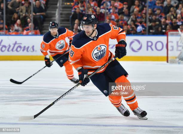 Anton Slepyshev of the Edmonton Oilers skates during the game against the New Jersey Devils on November 3 2017 at Rogers Place in Edmonton Alberta...