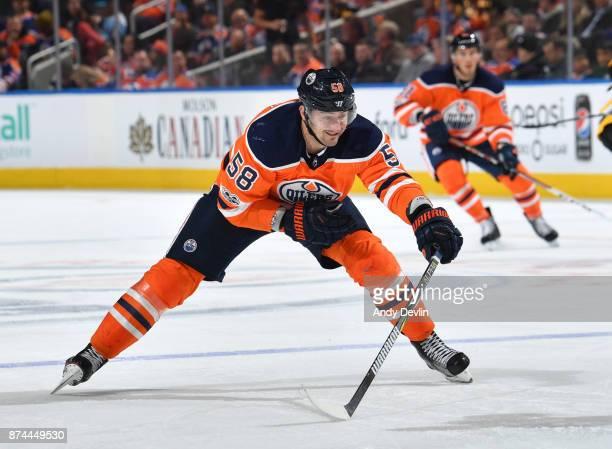 Anton Slepyshev of the Edmonton Oilers skates during the game against the Pittsburgh Penguins on November 1 2017 at Rogers Place in Edmonton Alberta...