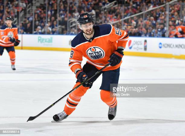 Anton Slepyshev of the Edmonton Oilers skates during the game against the Toronto Maple Leafs on November 30 2017 at Rogers Place in Edmonton Alberta...