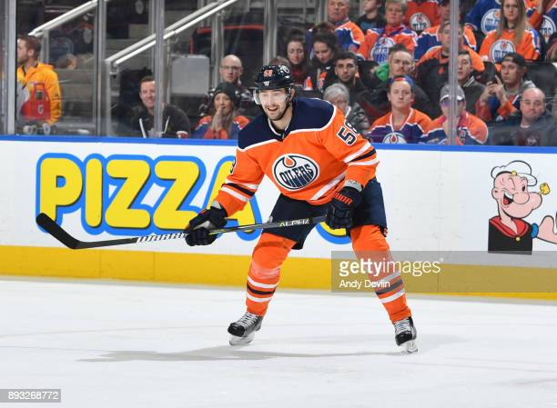 Anton Slepyshev of the Edmonton Oilers skates during the game against the Nashville Predators on December 14 2017 at Rogers Place in Edmonton Alberta...