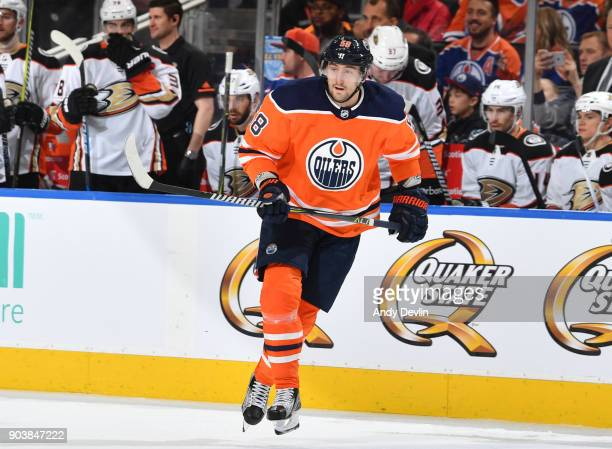 Anton Slepyshev of the Edmonton Oilers skates during the game against the Anaheim Ducks on January 4 2018 at Rogers Place in Edmonton Alberta Canada