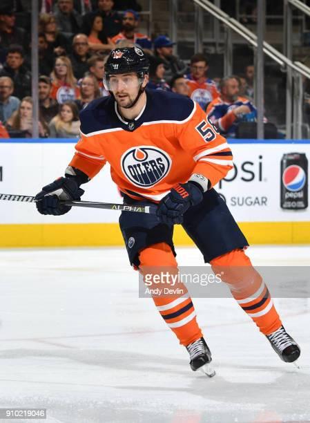 Anton Slepyshev of the Edmonton Oilers skates during the game against the Arizona Coyotes on November 28 2017 at Rogers Place in Edmonton Alberta...