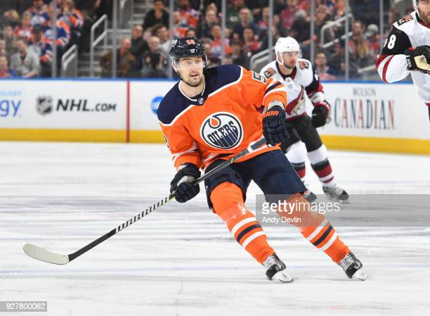 Anton Slepyshev of the Edmonton Oilers skates during the game against the Arizona Coyotes on March 5 2017 at Rogers Place in Edmonton Alberta Canada