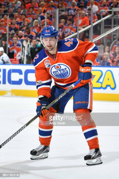 Anton Slepyshev of the Edmonton Oilers skates in Game Five of the Western Conference First Round during the 2017 NHL Stanley Cup Playoffs against the...