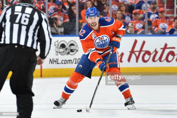 Anton Slepyshev of the Edmonton Oilers skates in Game Three of the Western Conference Second Round during the 2017 NHL Stanley Cup Playoffs against...