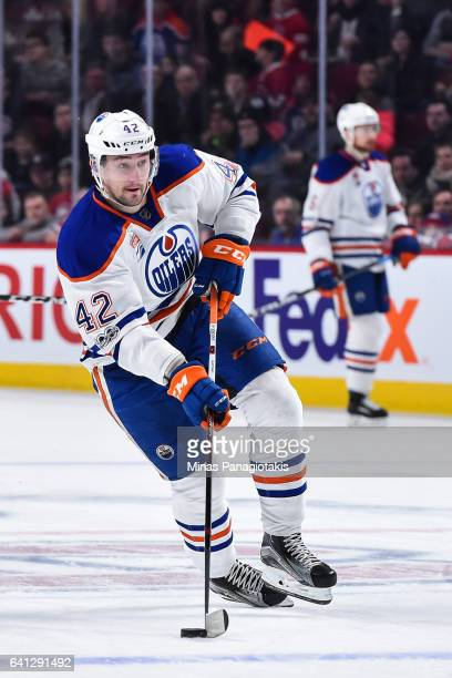 Anton Slepyshev of the Edmonton Oilers skates the puck during the NHL game against the Montreal Canadiens at the Bell Centre on February 5 2017 in...