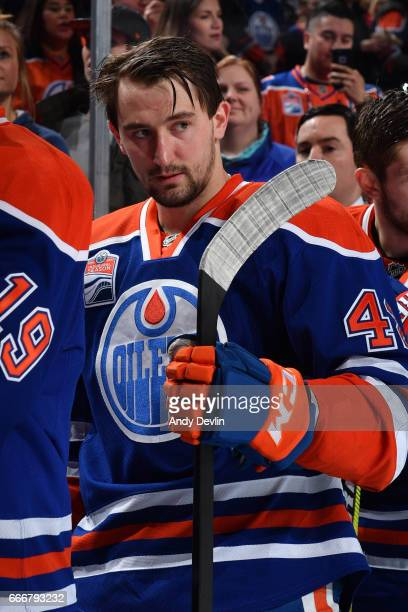 Anton Slepyshev of the Edmonton Oilers stands for the singing of the national anthem prior to the game against the Arizona Coytoes on January 16 2017...