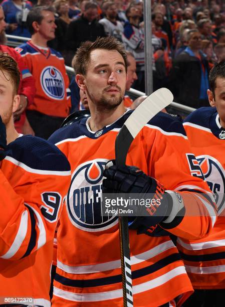 Anton Slepyshev of the Edmonton Oilers stands for the singing of the national anthem prior to the game against the Washington Capitals on October 28...