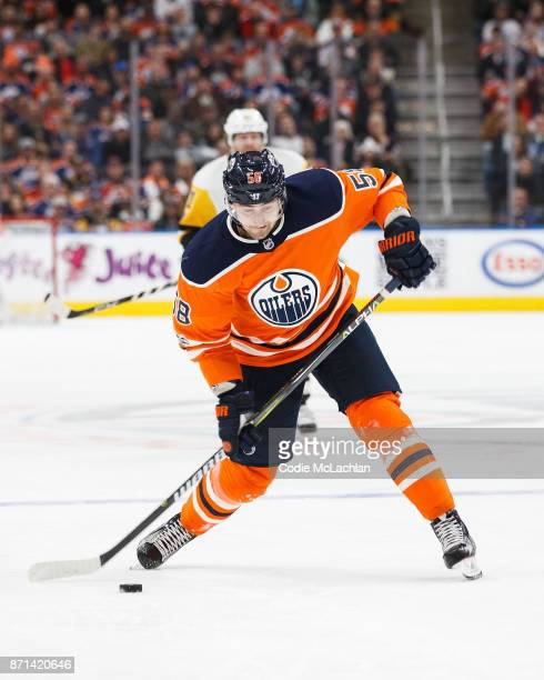 Anton Slepyshev of the Edmonton Oilers takes a shot against the Pittsburgh Penguins at Rogers Place on November 1 2017 in Edmonton Canada