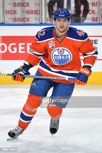 Anton Slepyshev of the Edmonton Oilers warms up prior to the game against the Colorado Avalanche on March 25 2017 at Rogers Place in Edmonton Alberta...