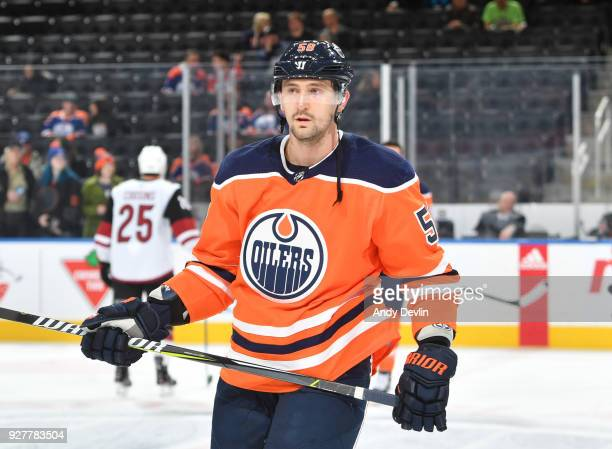 Anton Slepyshev of the Edmonton Oilers warms up prior to the game against the Arizona Coyotes on March 5 2017 at Rogers Place in Edmonton Alberta...