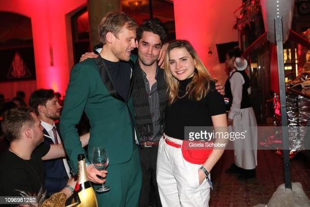 Anton Spieker, Maximilian Befort, Mala Emde during the PLACE TO B Berlinale party of BILD at Borchardt Restaurant on February 9, 2019 in Berlin,...