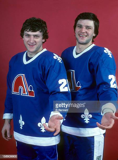 Anton Stastny poses with his brother/teammate Peter Stastny of the Quebec Nordiques before their game against the New York Rangers on March 22 1981...