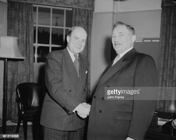 Anton Storch the German Federal Minister for Labour visits Iain Macleod the British Minister of Labour and National Service at the Ministry of Labour...