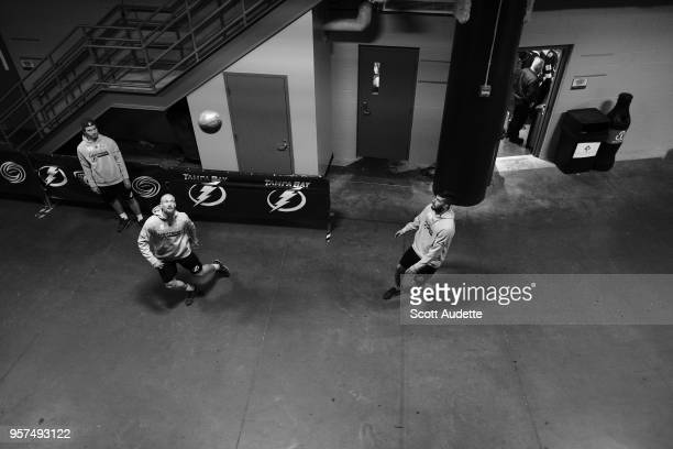Anton Stralman and Louis Domingue of the Tampa Bay Lightning play soccer before the game against the Washington Capitals during Game One of the...