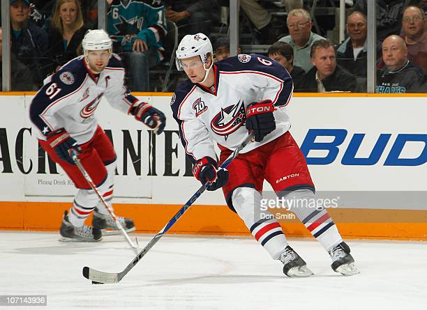 Anton Stralman and Rick Nash of the Columbus Blue Jackets start the breakout against the San Jose Sharks during an NHL game on November 20 2010 at HP...