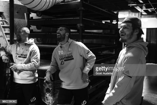 Anton Stralman Louis Domingue Mikhail Sergachev of the Tampa Bay Lightning play basketball before the game against the Washington Capitals during...
