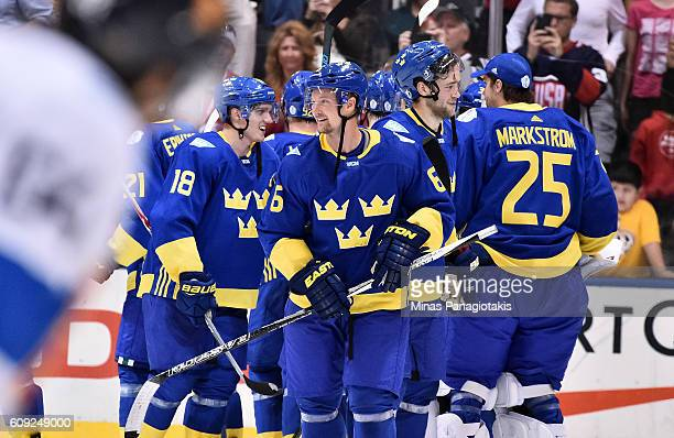 Anton Stralman of Team Sweden celebrates after a 20 win over Team Finland during the World Cup of Hockey 2016 at Air Canada Centre on September 20...