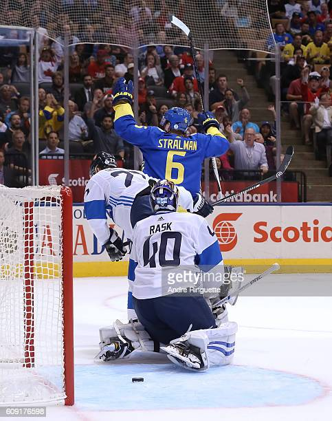 Anton Stralman of Team Sweden celebrates after scoring a second period goal on Tuukka Rask of Team Finland during the World Cup of Hockey 2016 at Air...
